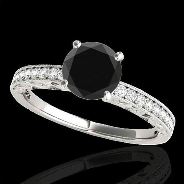 1.18 ctw Certified VS Black Diamond Solitaire Antique Ring 10k White Gold - REF-39N5F