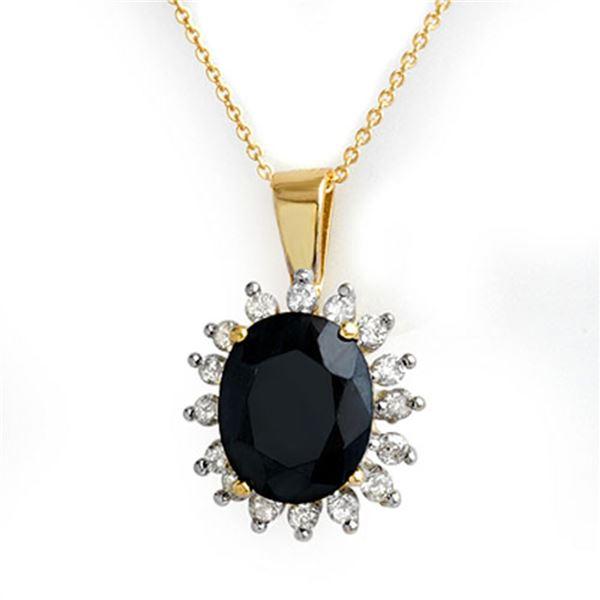 5.20 ctw Blue Sapphire & Diamond Pendant 14k Yellow Gold - REF-87A3N