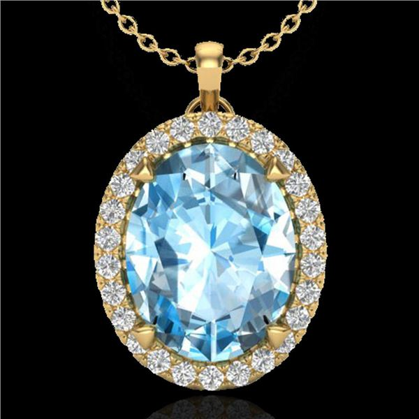 2.75 ctw Sky Blue Topaz & Micro VS/SI Diamond Necklace 18k Yellow Gold - REF-36R8K