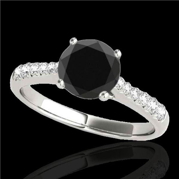 1.25 ctw Certified VS Black Diamond Solitaire Ring 10k White Gold - REF-50N5F