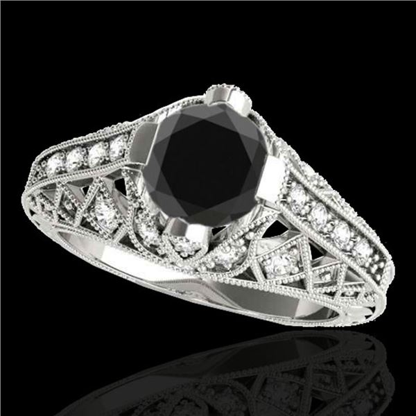 1.25 ctw Certified VS Black Diamond Solitaire Antique Ring 10k White Gold - REF-44M2G