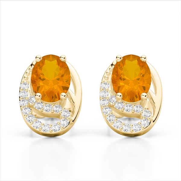 2.50 Citrine & Micro Pave VS/SI Diamond Stud Earrings 10k Yellow Gold - REF-25R9K