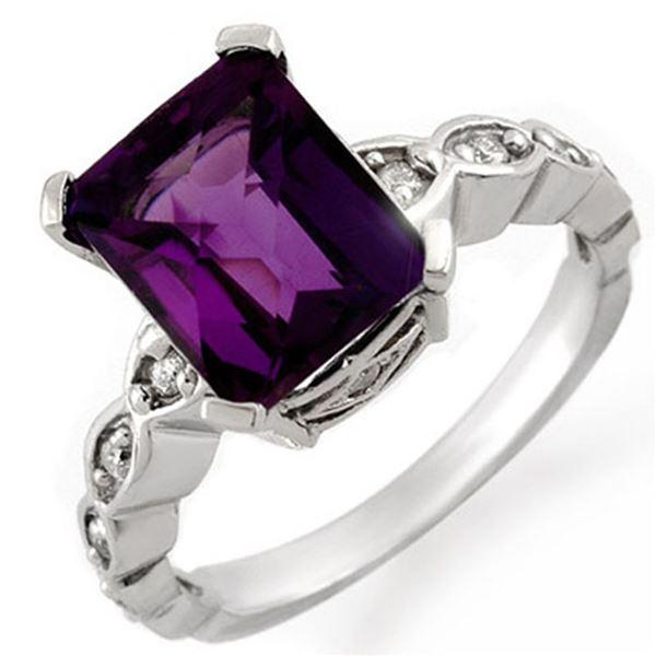 4.25 ctw Amethyst & Diamond Ring 10k White Gold - REF-25R4K