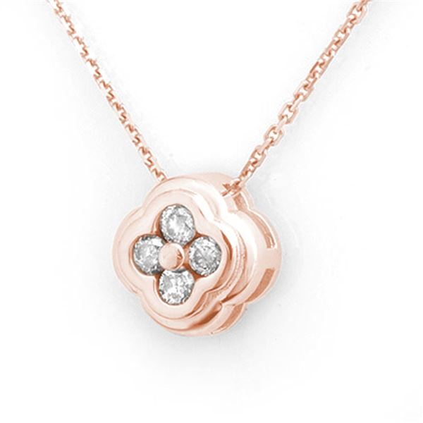 0.25 ctw Certified VS/SI Diamond Necklace 14k Rose Gold - REF-22A2N