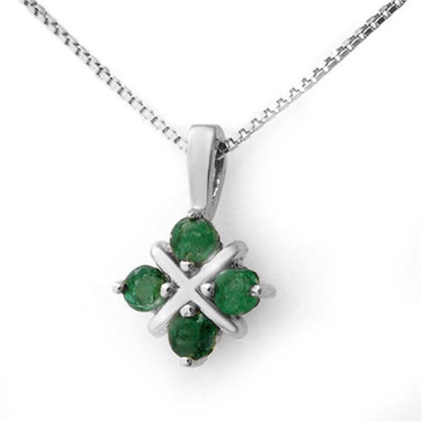 0.38 ctw Emerald Pendant 18k White Gold - REF-10N5F