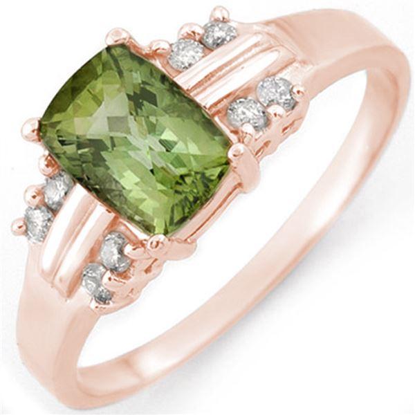 1.41 ctw Green Tourmaline & Diamond Ring 18k Rose Gold - REF-32W2H