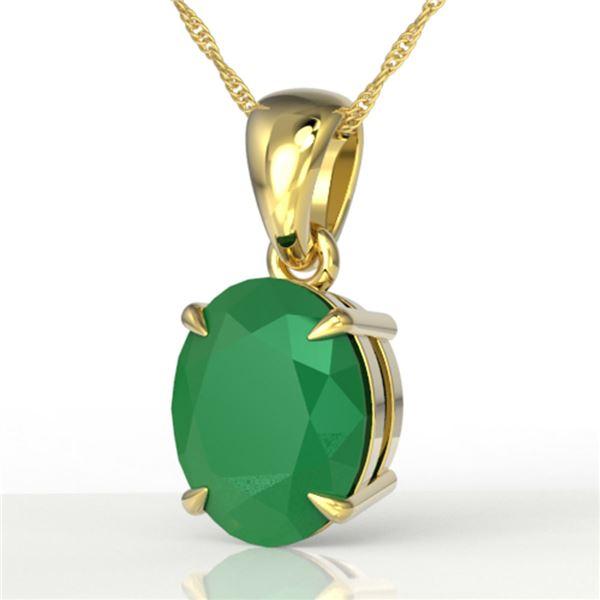 3.50 ctw Emerald Designer Solitaire Necklace 18k Yellow Gold - REF-25F9M