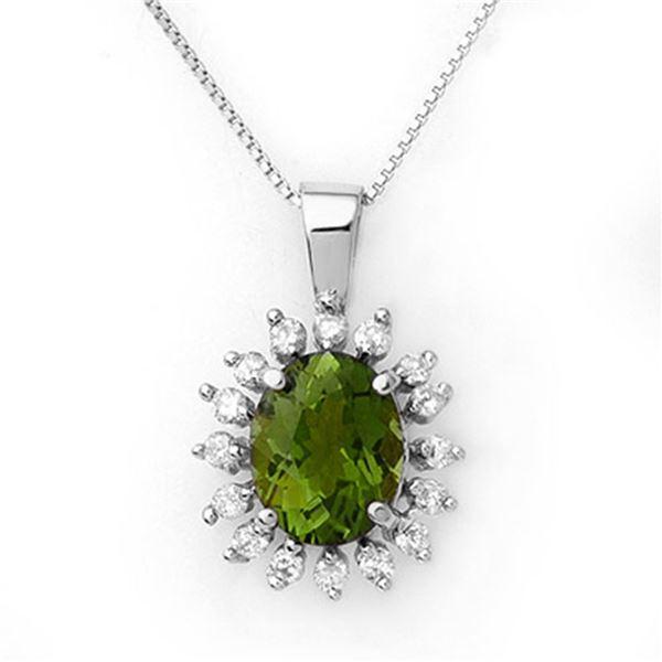 3.55 ctw Green Tourmaline & Diamond Necklace 18k White Gold - REF-98K5Y