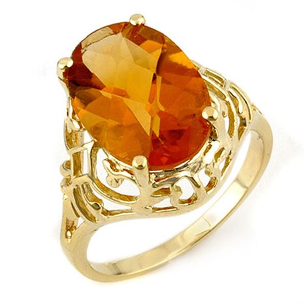 6.50 ctw Citrine Ring 10k Yellow Gold - REF-16K2Y