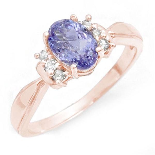 1.06 ctw Tanzanite & Diamond Ring 14k Rose Gold - REF-19H2R