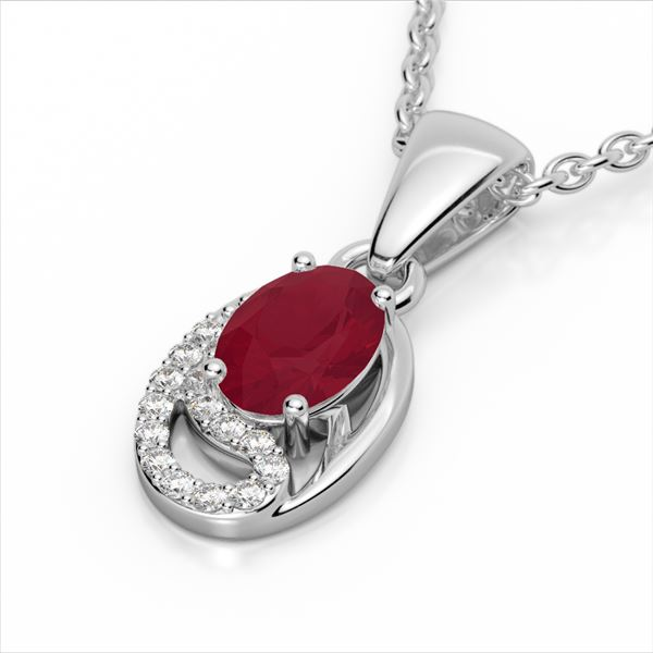 1.25 ctw Ruby & Micro Pave VS/SI Diamond Necklace 10k White Gold - REF-18F4M