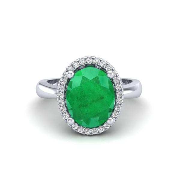 3 ctw Emerald & Micro Pave VS/SI Diamond Ring 18k White Gold - REF-50H3R
