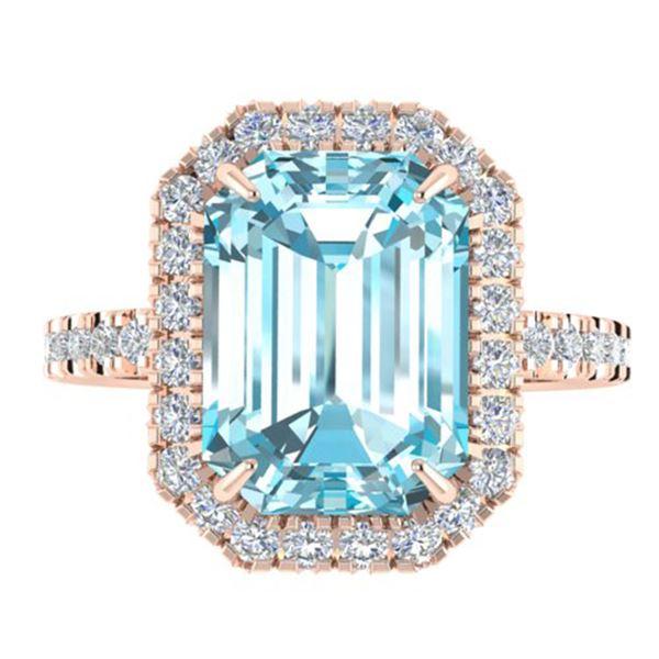 6.03 ctw Sky Blue Topaz & Micro Pave VS/SI Diamond Ring 14k Rose Gold - REF-41Y6X
