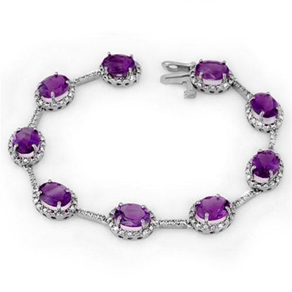 16.33 ctw Amethyst & Diamond Bracelet 10k White Gold - REF-82R2K