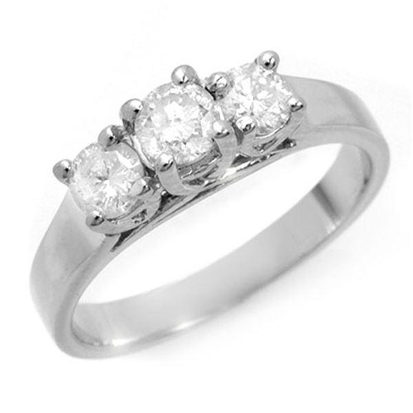 0.85 ctw Certified VS/SI Diamond 3 Stone Ring 14k White Gold - REF-123N6F