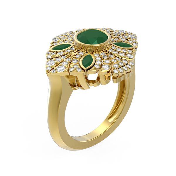 2.32 ctw Emerald & Diamond Ring 18K Yellow Gold - REF-178G5W