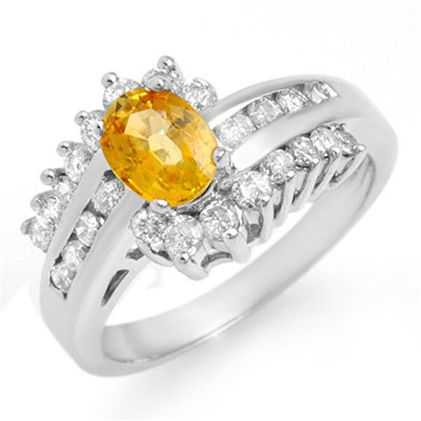 1.77 ctw Yellow Sapphire & Diamond Ring 18k White Gold - REF-92Y2X