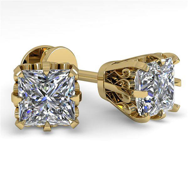 1.0 ctw VS/SI Princess Diamond Stud Solitaire Earrings 18k Yellow Gold - REF-147H2R