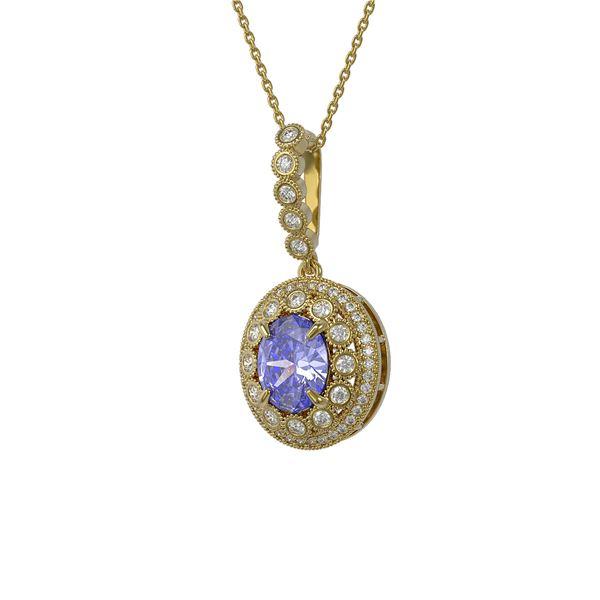 4.77 ctw Tanzanite & Diamond Victorian Necklace 14K Yellow Gold - REF-169F8M