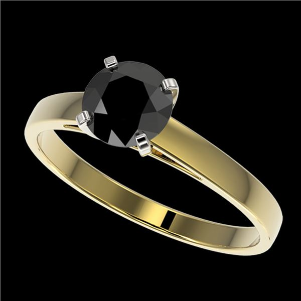 1.08 ctw Fancy Black Diamond Solitaire Engagment Ring 10k Yellow Gold - REF-23A9N