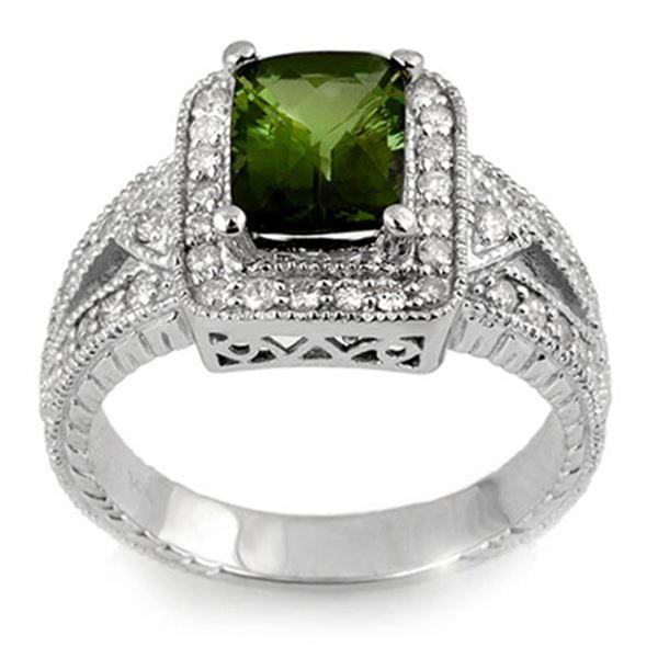 2.55 ctw Green Tourmaline & Diamond Ring 14k White Gold - REF-118K2Y
