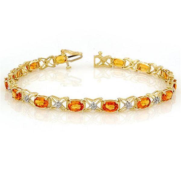 10.15 ctw Orange Sapphire & Diamond Bracelet 14k Yellow Gold - REF-127W3H