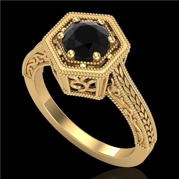 0.77 ctw Fancy Black Diamond Engagment Art Deco Ring 18k Yellow Gold - REF-52F8M