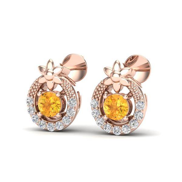 0.40 ctw Citrine & Micro Pave VS/SI Diamond Halo Earrings 14k Rose Gold - REF-15K4Y