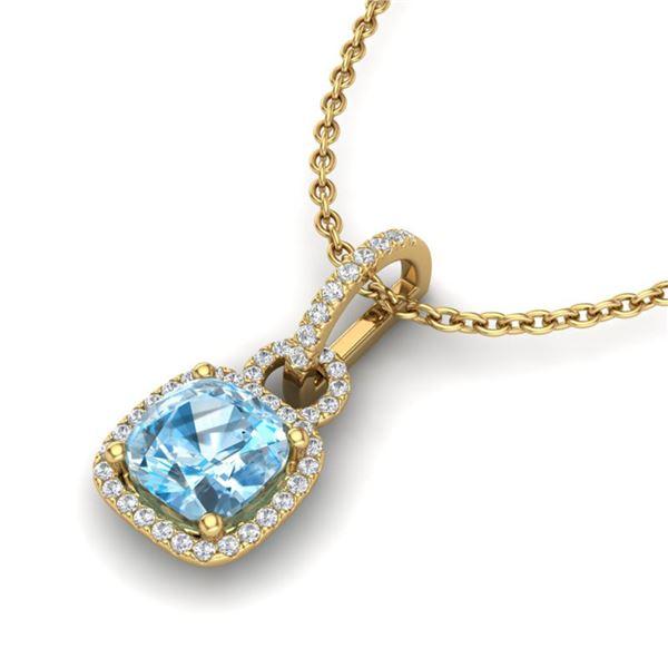 3.50 ctw TOPAZ & Micro VS/SI Diamond Certified Necklace 18k Yellow Gold - REF-52M3G