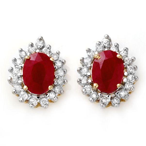 4.44 ctw Ruby & Diamond Earrings 14k Yellow Gold - REF-89R3K