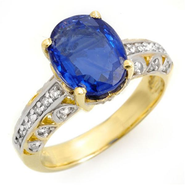 4.33 ctw Kaynite & Diamond Ring 10k Yellow Gold - REF-102H2R