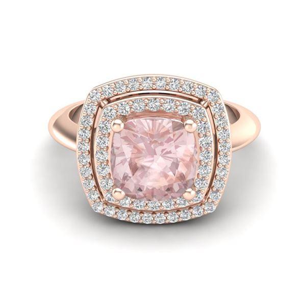 1.92 ctw Morganite & Micro VS/SI Diamond Pave Ring 14k Rose Gold - REF-51N8F