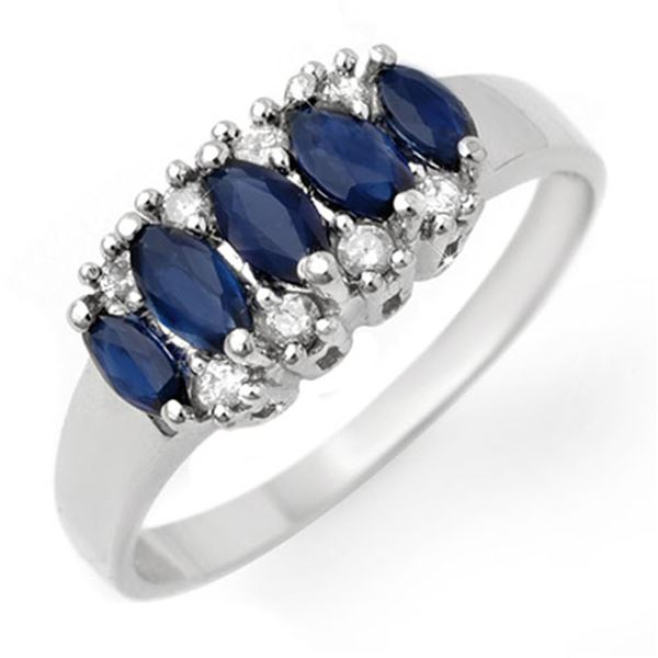 1.02 ctw Blue Sapphire & Diamond Ring 10k White Gold - REF-18H5R
