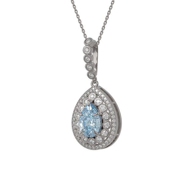 3.77 ctw Aquamarine & Diamond Victorian Necklace 14K White Gold - REF-160F2M