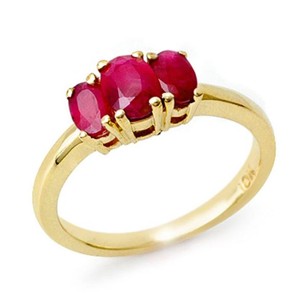1.0 ctw Ruby Ring 10k Yellow Gold - REF-15M5G