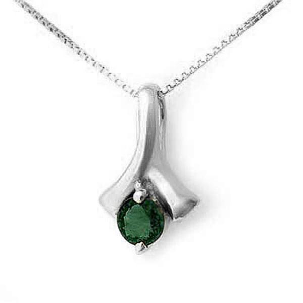 0.25 ctw Emerald Pendant 18k White Gold - REF-17G3W