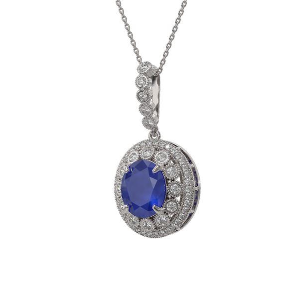 8.66 ctw Sapphire & Diamond Victorian Necklace 14K White Gold - REF-192H2R