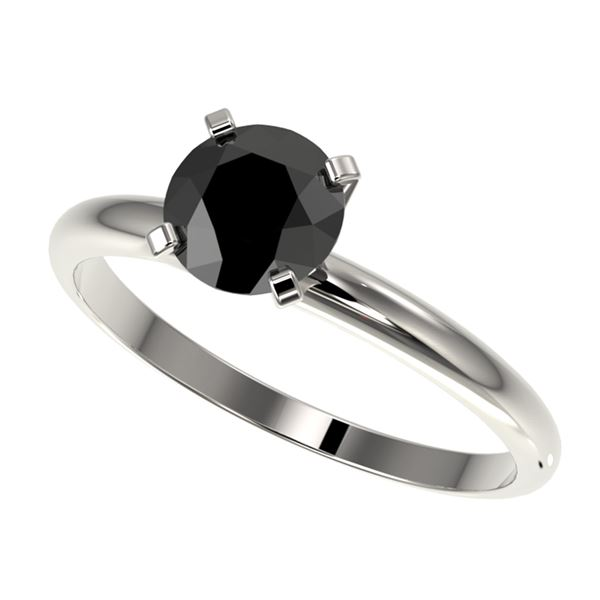 1 ctw Fancy Black Diamond Solitaire Engagment Ring 10k White Gold - REF-22A3N