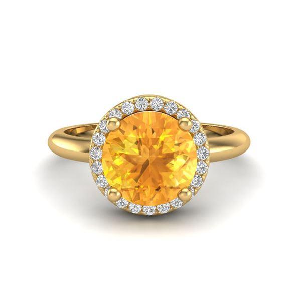 2 ctw Citrine & Micro VS/SI Diamond Ring Designer 18k Yellow Gold - REF-45Y2X