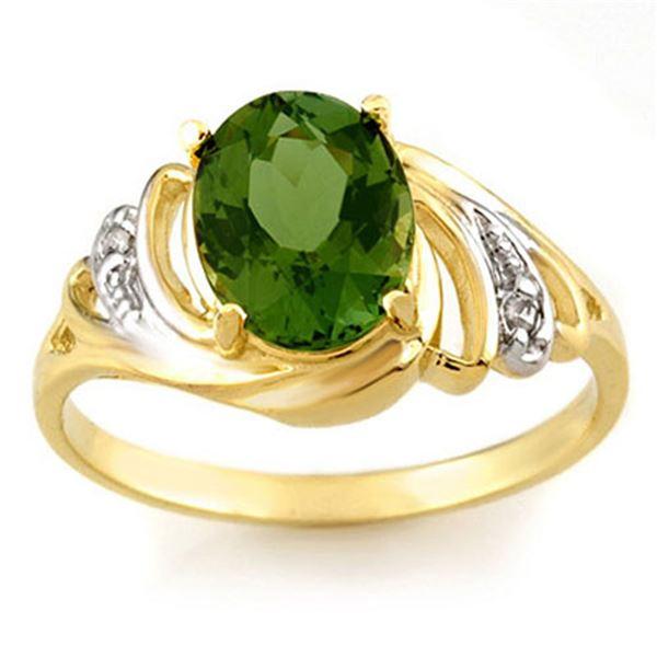 2.54 ctw Green Tourmaline & Diamond Ring 10k Yellow Gold - REF-29A3N