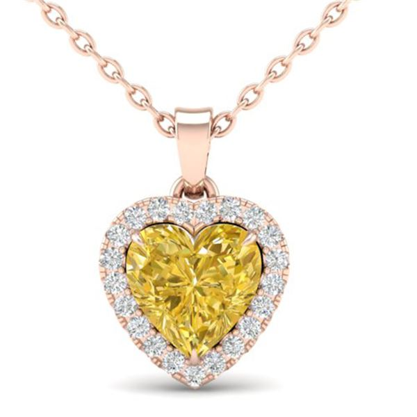 1 ctw Citrine & Micro Pave VS/SI Diamond Heart Necklace 14k Rose Gold - REF-21A3N
