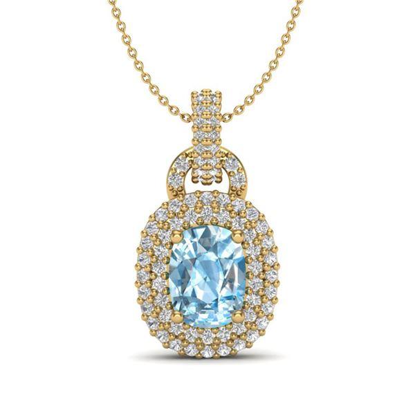 2.50 ctw Sky Blue Topaz & Micro Pave Diamond Necklace 14 14k Yellow Gold - REF-52W8H