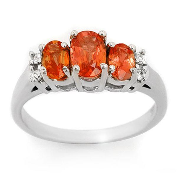 1.14 ctw Orange Sapphire & Diamond Ring 18k White Gold - REF-40M9G
