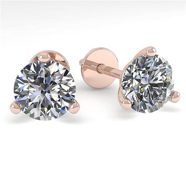 1.0 ctw Certified VS/SI Diamond Stud Earrings Martini 18k Rose Gold - REF-132A2N