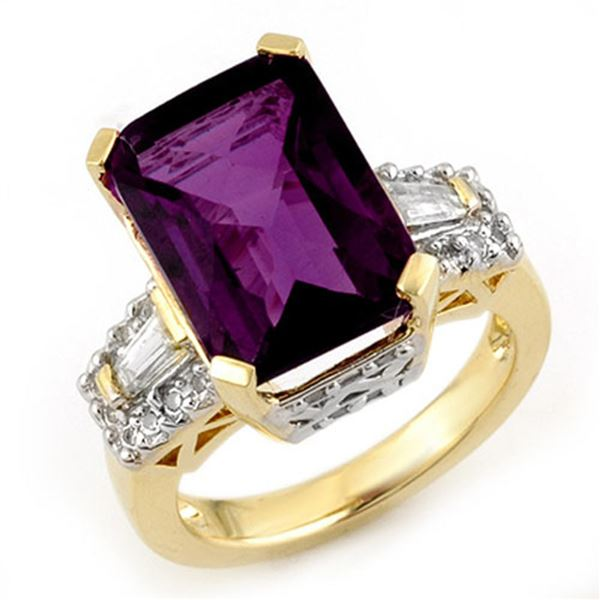9.55 ctw Amethyst & Diamond Ring 10k Yellow Gold - REF-90G2W