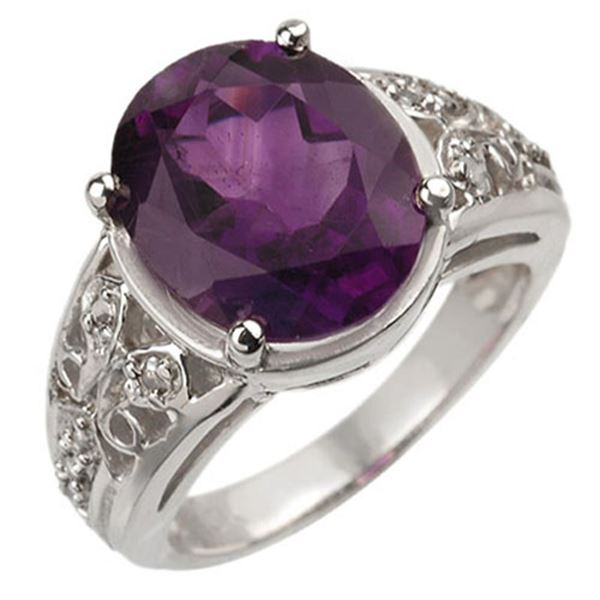 4.65 ctw Amethyst & Diamond Ring 10k White Gold - REF-29Y2X