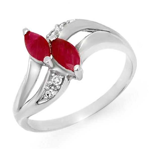 0.62 ctw Ruby & Diamond Ring 18k White Gold - REF-24X5A
