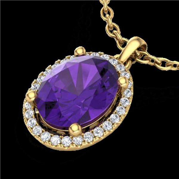 2.50 ctw Amethyst & Micro Pave VS/SI Diamond Necklace 18k Yellow Gold - REF-33N8F