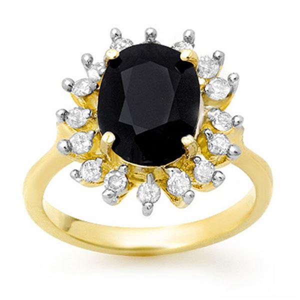 3.67 ctw Blue Sapphire & Diamond Ring 10k Yellow Gold - REF-42F3M