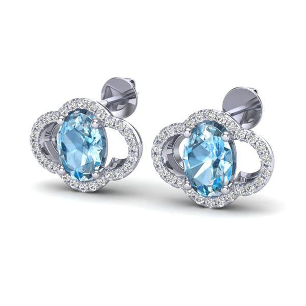 4 ctw Sky Blue Topaz & Micro Pave VS/SI Diamond Earrings 10k White Gold - REF-45X3A